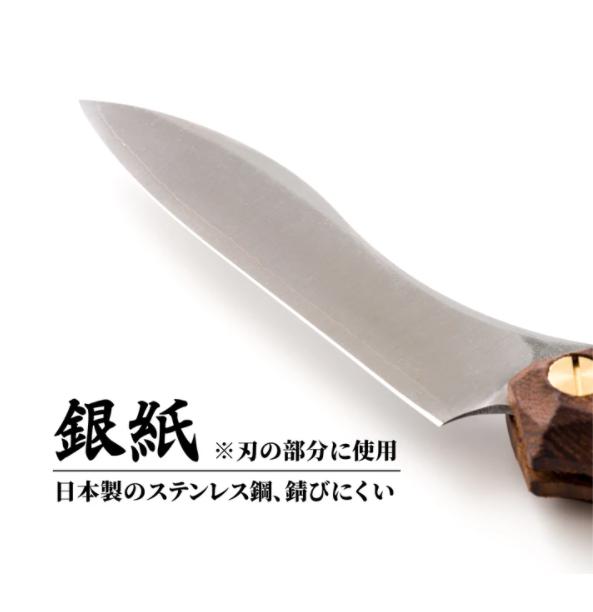 折畳式料理ナイフ ビルマチーク (ステンレス鋼/銀紙三号)