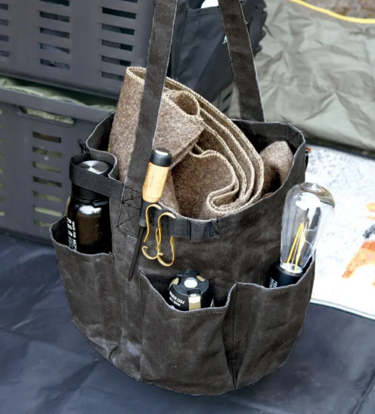WAXED CANVAS TOOL BAG ROUND